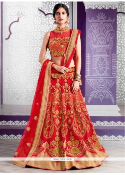 Voluptuous Silk Embroidered Work A Line Lehenga Choli