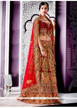 Flamboyant Velvet Red A Line Lehenga Choli