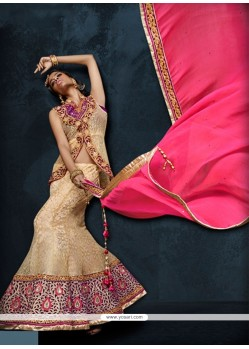 Intrinsic Beige Embroidered Work A Line Lehenga Choli