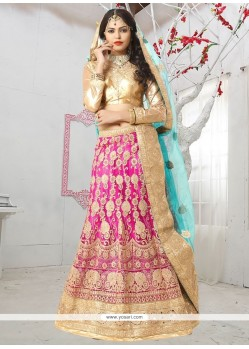 Energetic Pink Net Lehenga Choli