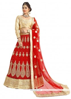 Marvelous Patch Border Work Red A Line Lehenga Choli