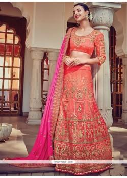 Gleaming Rose Pink Embroidered Work Raw Silk A Line Lehenga Choli