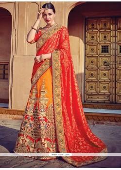 Impeccable Orange Embroidered Work Raw Silk A Line Lehenga Choli