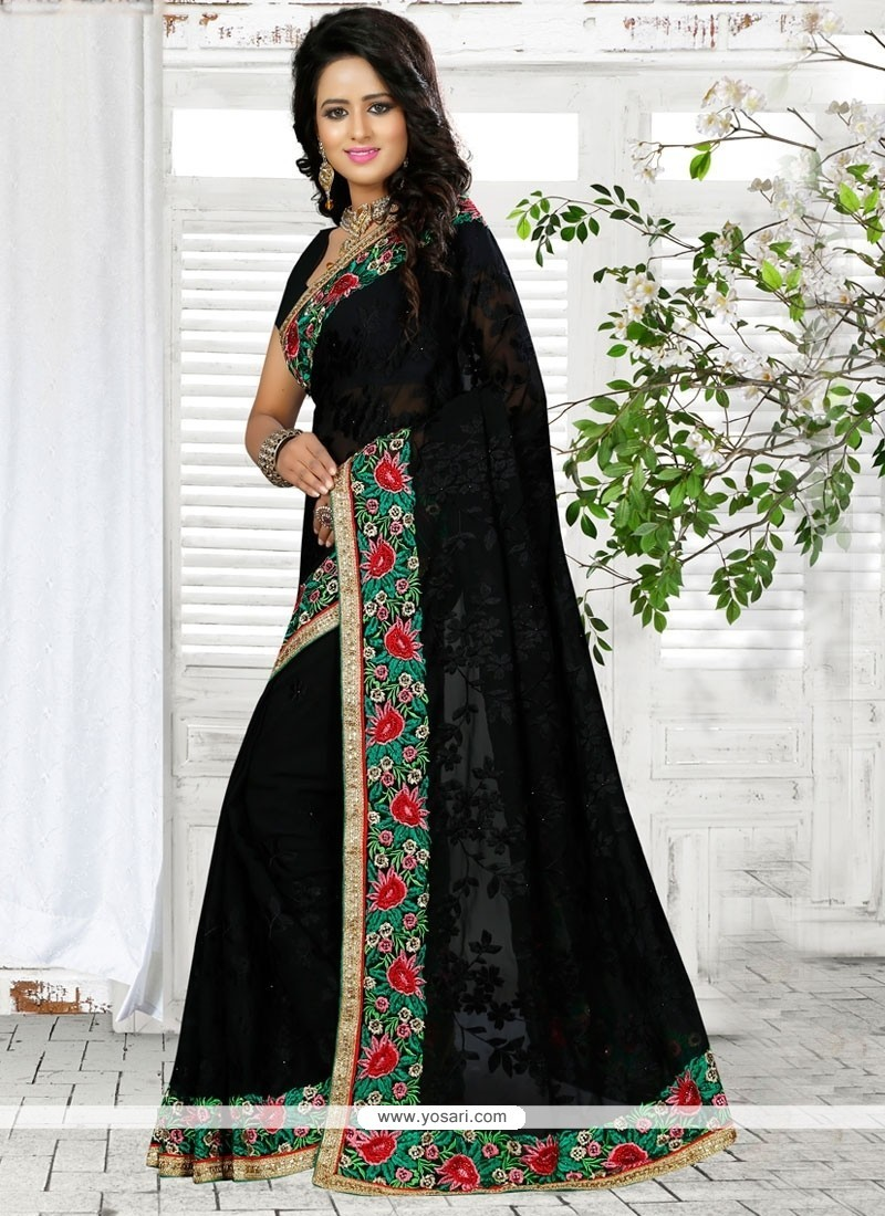 Distinguishable Georgette Black Patch Border Work Traditional Saree