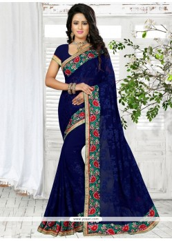 Lovable Navy Blue Embroidered Work Georgette Traditional Saree