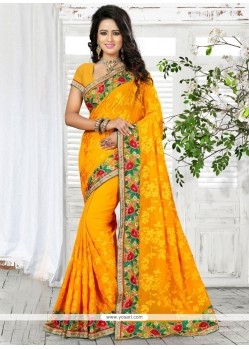 Mystical Patch Border Work Yellow Trendy Saree