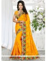 Mystical Patch Border Work Yellow Trendy Saree