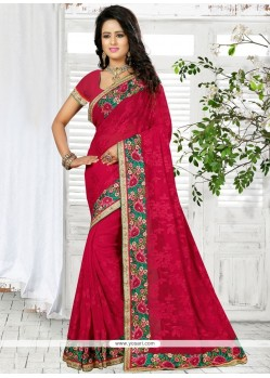 Exceeding Georgette Red Embroidered Work Classic Designer Saree