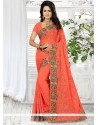 Masterly Georgette Orange Patch Border Work Trendy Saree