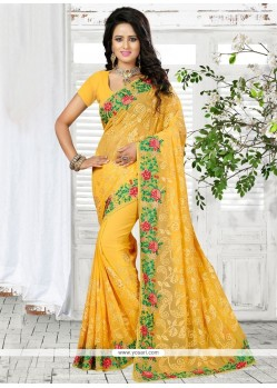 Especial Yellow Patch Border Work Georgette Classic Designer Saree