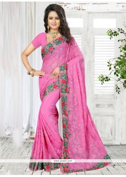 Patch Border Georgette Classic Saree In Pink