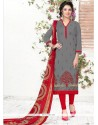 Lovely Embroidered Work Grey Chanderi Churidar Suit