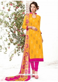 Resplendent Yellow Churidar Suit