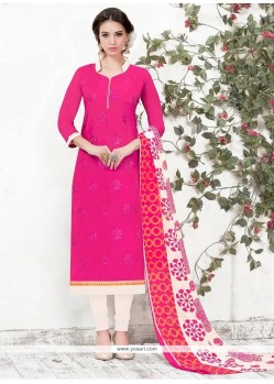 Ideal Embroidered Work Chanderi Churidar Suit