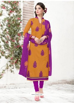 Transcendent Embroidered Work Mustard Churidar Suit