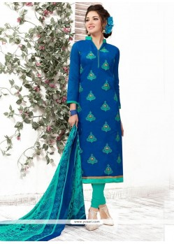 Dazzling Chanderi Embroidered Work Churidar Suit