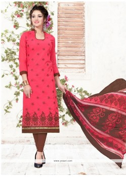 Riveting Embroidered Work Hot Pink Chanderi Churidar Suit