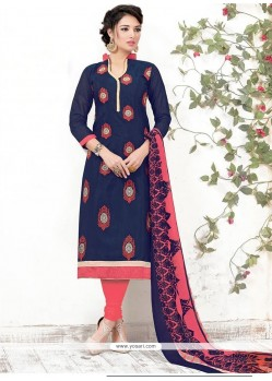 Renowned Chanderi Navy Blue Embroidered Work Churidar Suit
