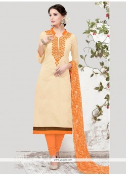 Lovable Embroidered Work Beige Churidar Suit