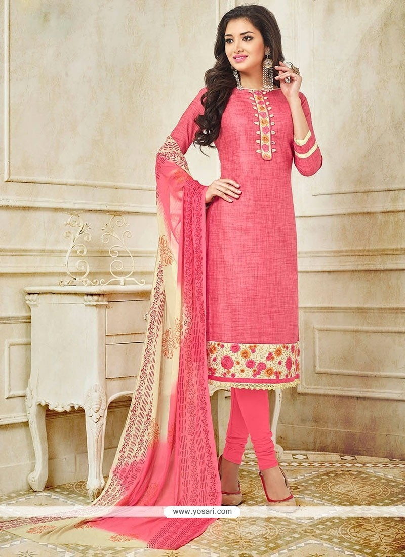 Baronial Embroidered Work Pink Churidar Suit