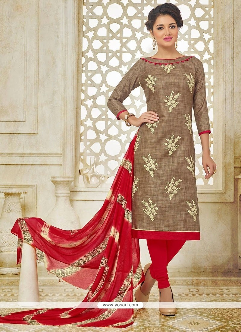 Congenial Brown Embroidered Work Churidar Suit