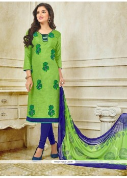 Intriguing Embroidered Work Churidar Suit