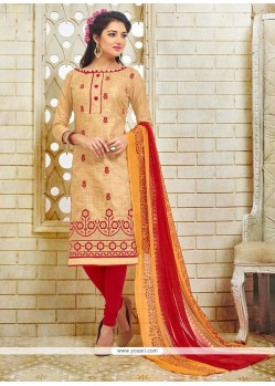 Dazzling Silk Embroidered Work Churidar Suit