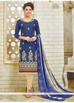 Incredible Embroidered Work Silk Churidar Suit