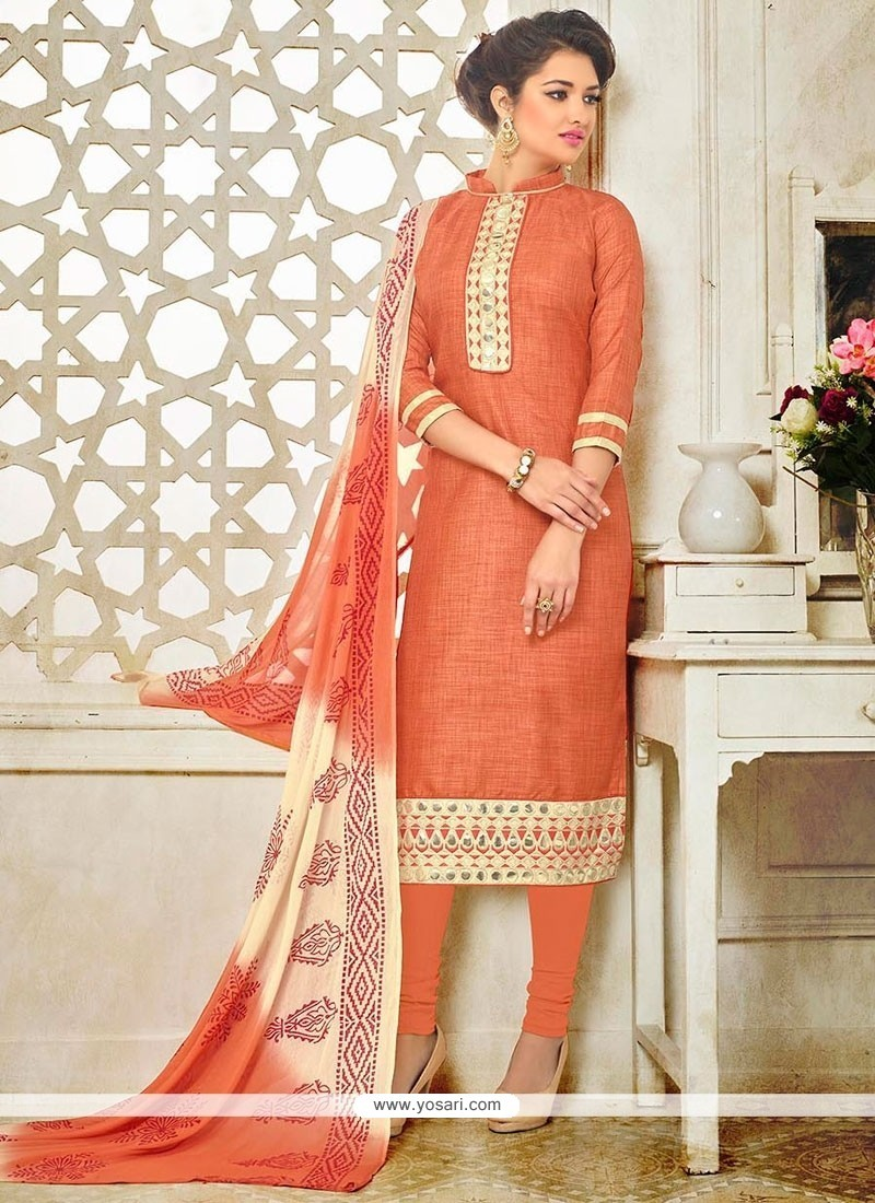 Blooming Silk Embroidered Work Churidar Suit