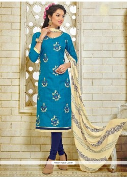 Gorgonize Blue Embroidered Work Silk Churidar Suit