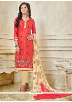 Opulent Red Embroidered Work Churidar Suit