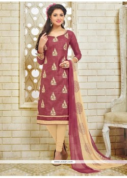 Embroidered Silk Churidar Suit In Maroon