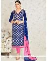 Modernistic Navy Blue Embroidered Work Banarasi Silk Churidar Suit