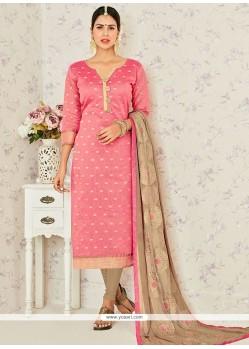 Distinguishable Jacquard Pink Churidar Suit