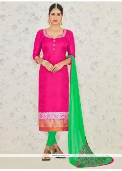 Beckoning Hot Pink Banarasi Silk Churidar Suit