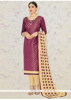 Divine Wine Embroidered Work Banarasi Silk Churidar Suit