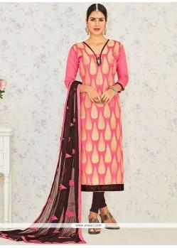Lace Banarasi Silk Churidar Suit In Rose Pink