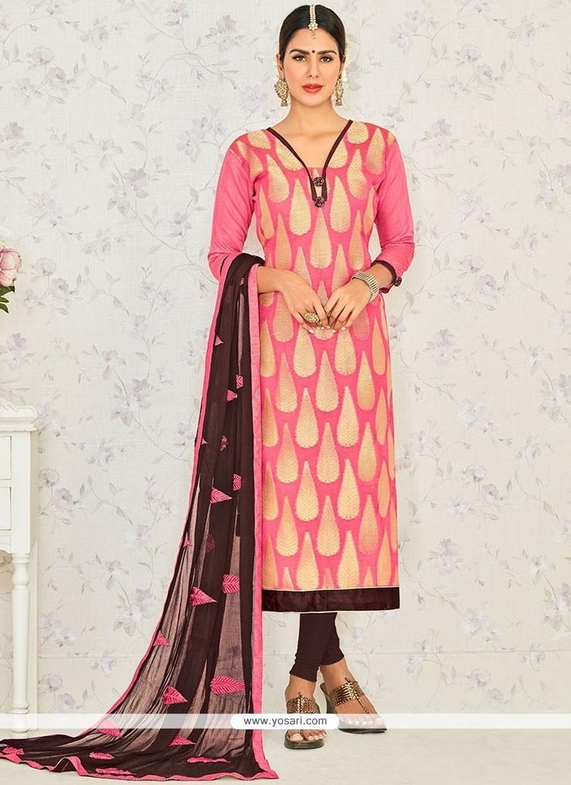530b55cbfc Buy Lace Banarasi Silk Churidar Suit In Rose Pink | Churidar Salwar ...