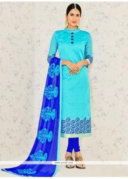 Strange Banarasi Silk Turquoise Embroidered Work Churidar Suit