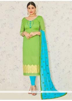Green Jacquard Churidar Suit