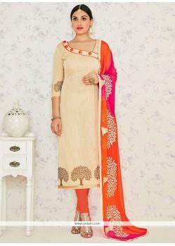 Praiseworthy Banarasi Silk Lace Work Churidar Suit