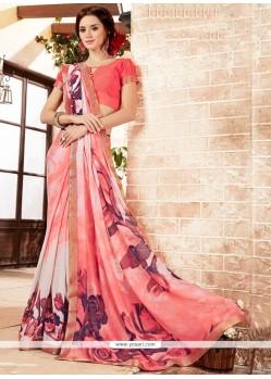 Entrancing Georgette Pink Printed Saree