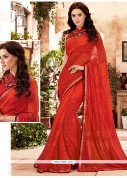 Baronial Georgette Red Printed Saree