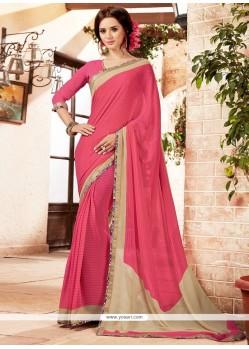 Tempting Georgette Pink Printed Saree