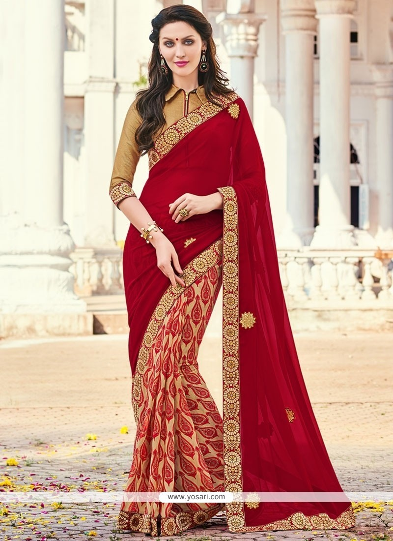 Mesmeric Multi Colour Patch Border Work Printed Saree