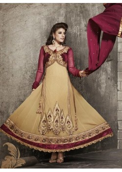 Jacket Work Maroon and Gold Anarkali Suits
