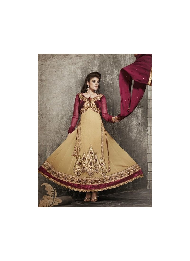 Jacket Work Mehroon and Gold Anarkali Suits