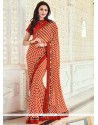 Patch Border Georgette Traditional Saree In Peach And Red