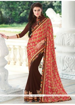 Cute Georgette Brown Embroidered Work Classic Saree