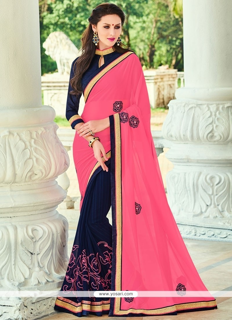 Tantalizing Georgette Navy Blue Patch Border Work Traditional Saree